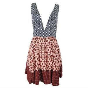 NWT Lulus Red Blue Deep Vneck Boho sleeveles Dress